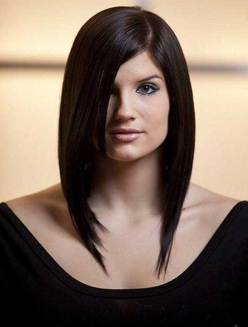 Bob Hairstyles 2017 Inside Fashionable Long Bob Hairstyles With Side Swept Bangs (View 6 of 15)