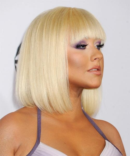 Celebrity Hairstyles Within Well Known Christina Aguilera Shoulder Length Bob Hairstyles (View 4 of 15)