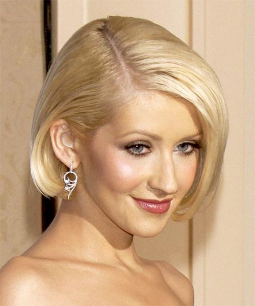 Christina Aguilera Medium Straight Formal Bob Hairstyle Intended For Most Recently Released Christina Aguilera Shoulder Length Bob Hairstyles (View 8 of 15)
