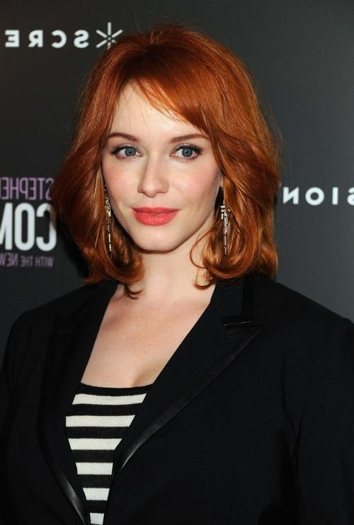 Christina Hendricks Medium Fiery Red Wavy Hairstyle For Women Regarding Most Current Christina Hendricks Bob Hairstyles (View 10 of 15)