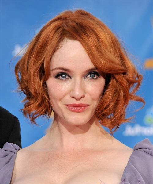 Christina Hendricks Medium Wavy Casual Hairstyle Intended For Famous Christina Hendricks Bob Hairstyles (View 9 of 15)
