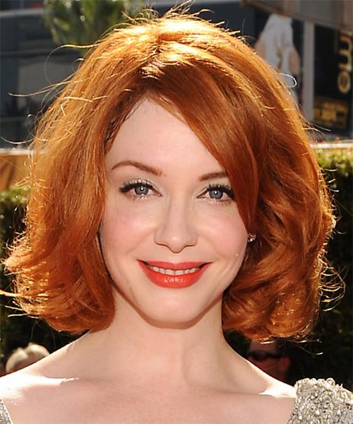 Christina Hendricks Medium Wavy Formal Bob Hairstyle – Medium Red With 2018 Christina Hendricks Bob Hairstyles (View 7 of 15)