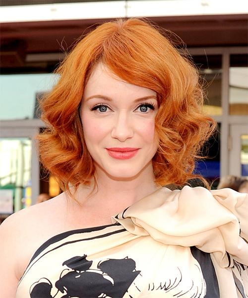 Christina Hendricks Medium Wavy Formal Bob Hairstyle – Orange With Regard To Most Recently Released Christina Hendricks Bob Hairstyles (View 8 of 15)