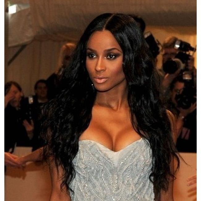 Ciara Long Black Hairstyles 100% Indian Human Hair 24 Inches Wavy For Ciara Long Hairstyles (View 4 of 15)
