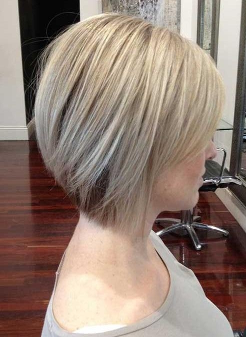 Current Inverted Bob Haircuts For Fine Hair Throughout Side View Of Chic Short Straight Bob Hairstyle – Hairstyles Weekly (View 5 of 15)