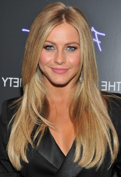 Current Long Hairstyles Without Bangs Inside Julianne Hough Hairstyle: Layered Long Straight Hairstyle (View 7 of 15)
