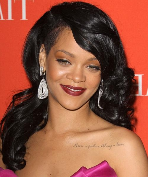 Current Rihanna Long Hairstyles Throughout Rihanna Long Wavy Formal Hairstyle – Black Hair Color (View 3 of 15)