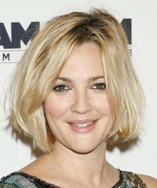 Drew Barrymore Medium Straight Casual Hairstyle Inside Fashionable Drew Barrymore Shoulder Length Bob Hairstyles (View 7 of 15)