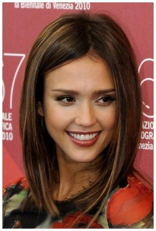 Fashionable Long Bob Hairstyles With Side Swept Bangs With Regard To Long Bob Hairstyles With Side Swept Bangs : Jessica Alba Hair Long (View 8 of 15)