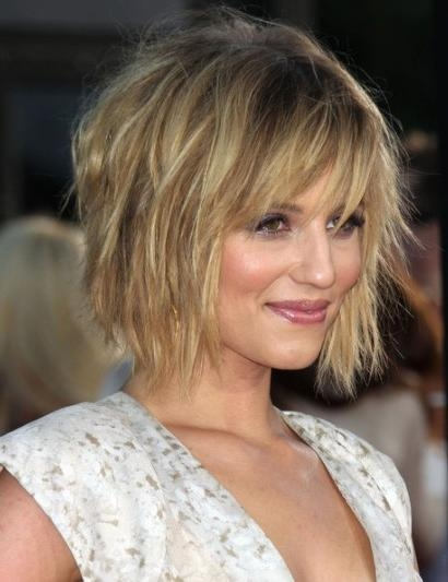 Favorite Dianna Agron Bob Hairstyles Intended For Dianna Agron Messy Bob Hairstyle – Popular Haircuts (View 6 of 15)