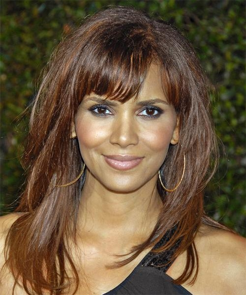 Halle Berry Long Straight Casual Hairstyle With Blunt Cut Bangs With Regard To Halle Berry Long Hairstyles (View 10 of 15)