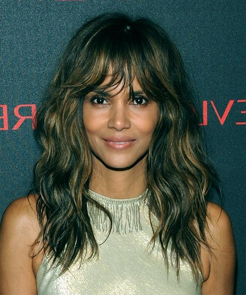 Halle Berry Long Wavy Casual Hairstyle – Medium Brunette Hair Color For Halle Berry Long Hairstyles (View 11 of 15)