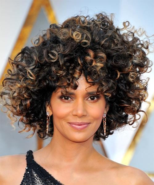 Halle Berry Medium Curly Casual Afro Hairstyle With Layered Bangs In Halle Berry Long Hairstyles (View 13 of 15)
