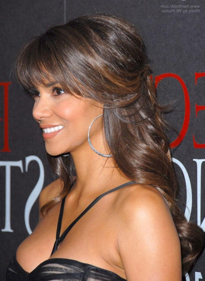 Halle Berry's Hairstyle With Curls That Cascade Down Her Back Pertaining To Halle Berry Long Hairstyles (View 15 of 15)