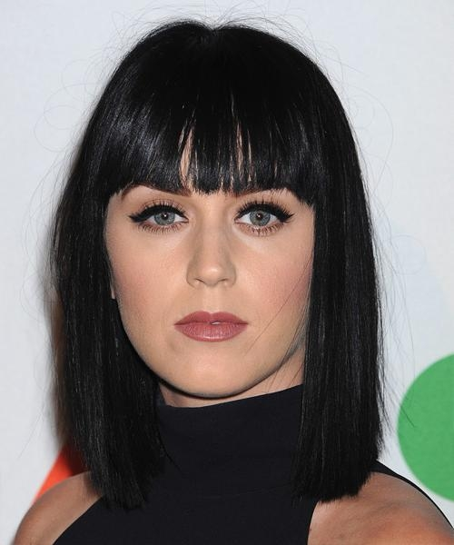 Katy Perry Medium Straight Casual Hairstyle With Blunt Cut Bangs Pertaining To Famous Katy Perry Bob Hairstyles (Gallery 14 of 15)