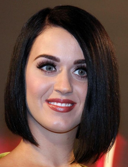 Katy Perry New Look In Her Bob Hairstyle With Long Side Bangs With Most Popular Katy Perry Bob Hairstyles (Gallery 6 of 15)