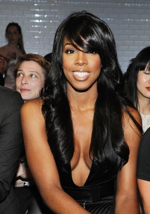 Kelly Rowland Long Black Hair Style With Side Swept Bangs With Regard To African American Long Hairstyles With Bangs (View 14 of 15)