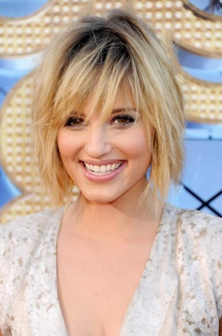 Latest Dianna Agron Bob Hairstyles Regarding Sexy Tousled Layered Bob Hairstyle With Dark Roots – Dianna Agron (View 10 of 15)