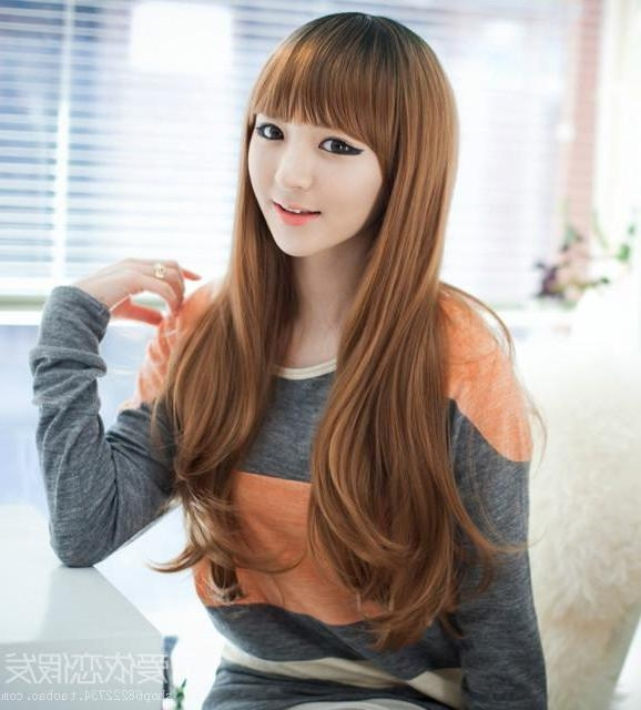 Latest Korean Long Hairstyles For Round Faces Intended For Cheap The New Simulation Hair Wig Scroll Fluffy Round Face Big (View 5 of 15)
