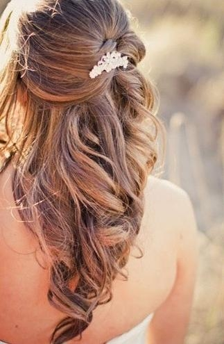 Latest Long Hairstyles For Weddings Hair Down With Regard To Up Half Down Hairstyle For Long Hair (View 7 of 15)