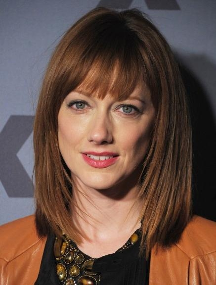 Long Layered Bob Hairstyles With Blunt Bangs – Popular Haircuts Inside Preferred Judy Greer Shoulder Length Bob Hairstyles (View 9 of 15)