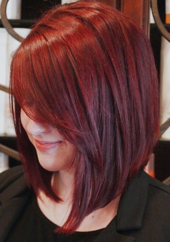Long Red Inverted Bob Haircuts With Side Swept Hair Bangs – Zestymag For Best And Newest Long Inverted Bob Haircuts With Bangs (View 9 of 15)