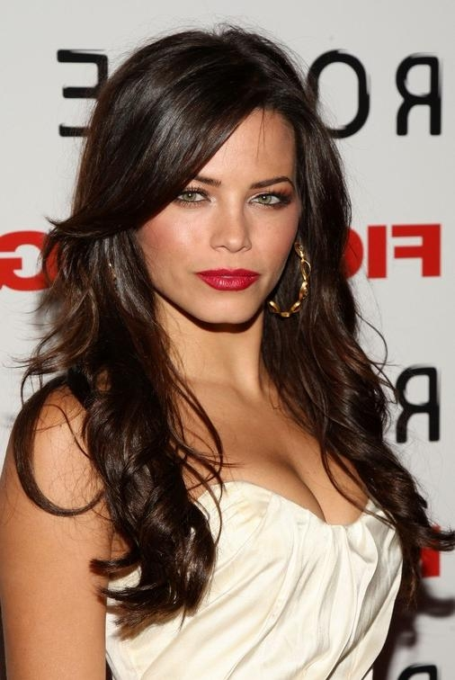 Long Sultry Brunette With Casual Soft Twists – Jenna Dewan's Regarding Dark Brown Long Hairstyles (View 15 of 15)