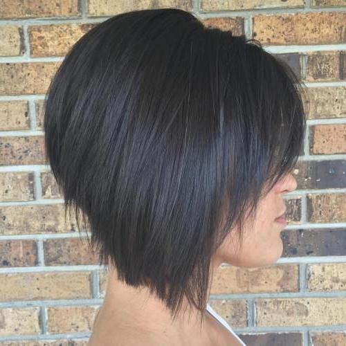 Longer Stacked Bob Inside Well Liked Short Stacked Bob Haircuts With Bangs (View 8 of 15)