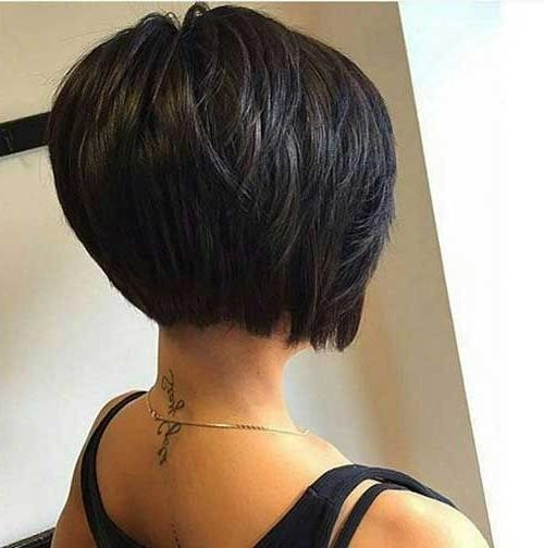 Longer Stacked Bob Pertaining To Famous Short Stacked Bob Haircuts With Bangs (View 9 of 15)
