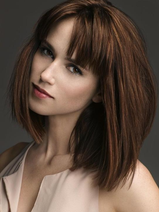 Medium Hairstyles With Bangs: Straight Bob Haircut 2014 – Popular Inside Well Liked Medium Bob Hairstyles With Bangs (View 8 of 15)