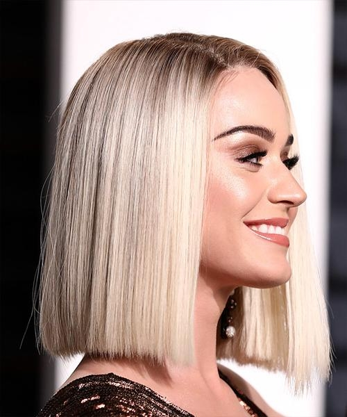 Most Current Katy Perry Bob Hairstyles Throughout Katy Perry Medium Straight Formal Bob Hairstyle – Light Blonde (View 1 of 15)