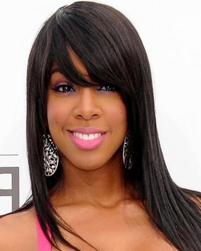 Most Current Long Haircuts For Black Women Inside Black Women Hair Kelly Rowland Long Straight Hairstyle  (View 7 of 15)