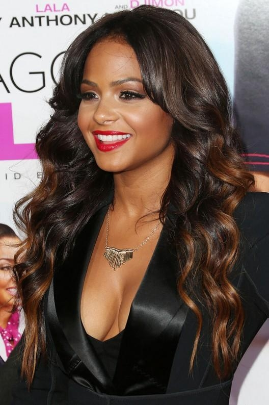 Most Popular Long Hairstyles On Black Women With Regard To Christina Milian Highlighted Long Wavy Hairstyle For Black Women (View 13 of 15)