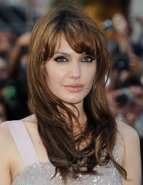 Most Popular Short Fringe Long Hairstyles With Regard To Angelina Jolie Hairstyles: Long Hairstyle With Short Bangs (View 11 of 15)