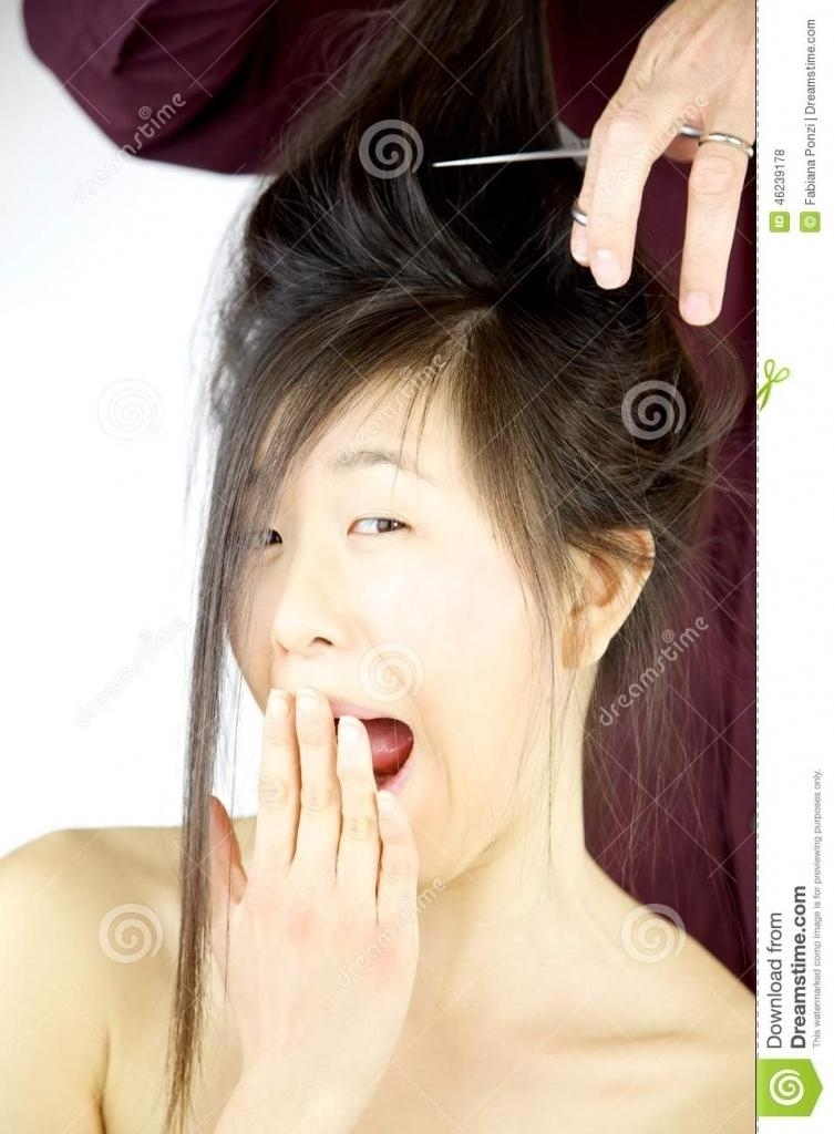 Most Recent China Long Haircuts Throughout Chinese Long Haircut Asian Woman Making Funny Face While Getting (View 7 of 15)