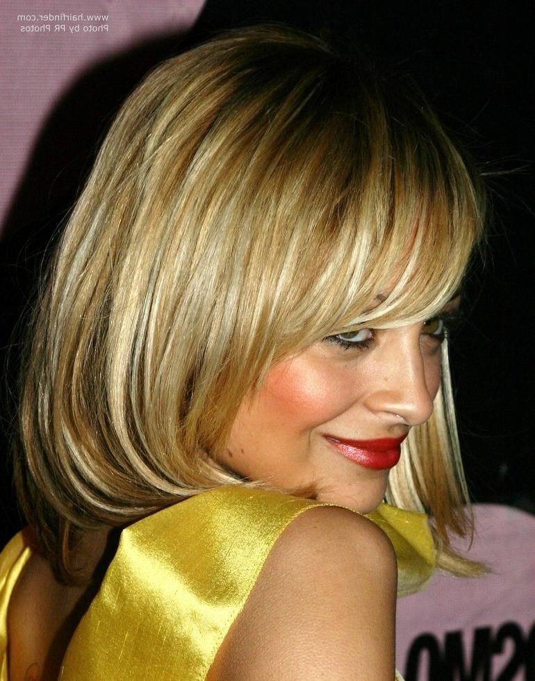 Most Recent Nicole Richie Shoulder Length Bob Hairstyles Inside Nicole Richie's Medium Length Bob Haircut With Bangs (View 8 of 15)