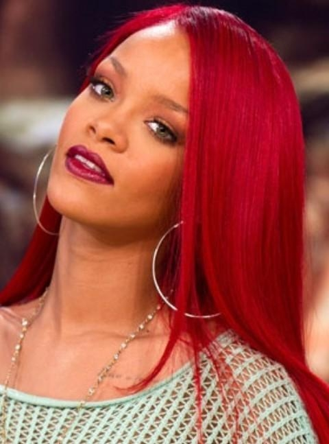 Most Recent Rihanna Long Hairstyles Pertaining To Rihanna Long Hairstyles: Stylish Scarlet Side Swept Haircut (View 8 of 15)