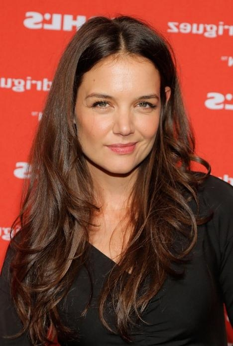 Most Recently Released Long Hairstyles Brunette Layers Regarding Katie Holmes Long Layered Wavy Hairstyle – Hairstyles Weekly (View 9 of 15)