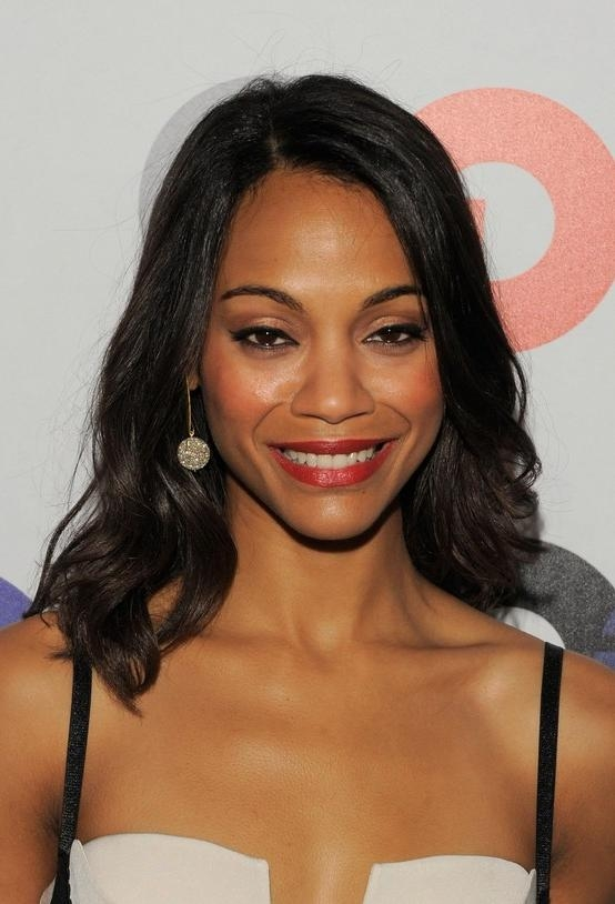 Most Up To Date Long Hairstyles For African American Women With Regard To Popular Long Black Wavy African American Hairstyle – Zoe Saldana (View 13 of 15)