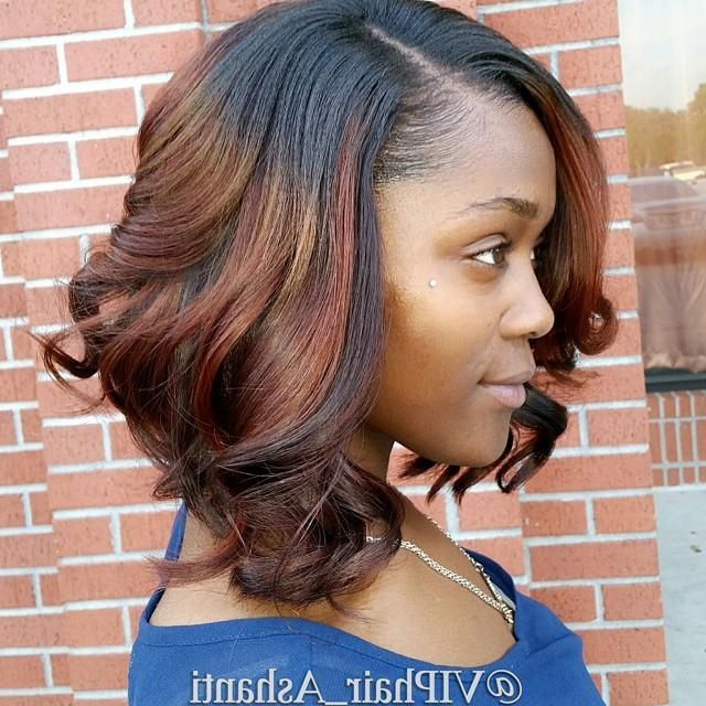 Most Up To Date Medium Bob Hairstyles For Black Women For African American Messy Curly Darkt O Red Ombre Bob Hairstyle For (View 12 of 15)