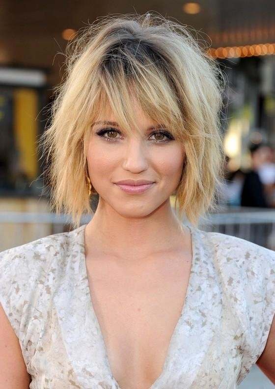 Newest Dianna Agron Bob Hairstyles Throughout Dianna Agron Tousled Black To Blonde Ombre Shaggy Bob Hairstyle (View 11 of 15)