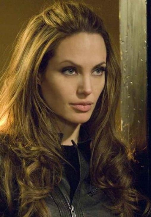 Newest Long Hairstyles Without Bangs Pertaining To Angelina Jolie Long Hairstyle: Curls Without Bangs – Pretty Designs (View 7 of 15)