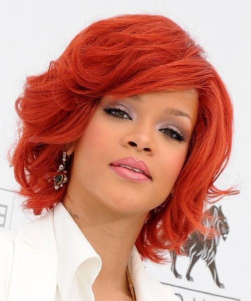 Newest Rihanna Side Swept Big Curly Bob Hairstyles Intended For Rihanna Side Swept Big Curly Bob Hairstyles – New Hairstyles (View 12 of 15)