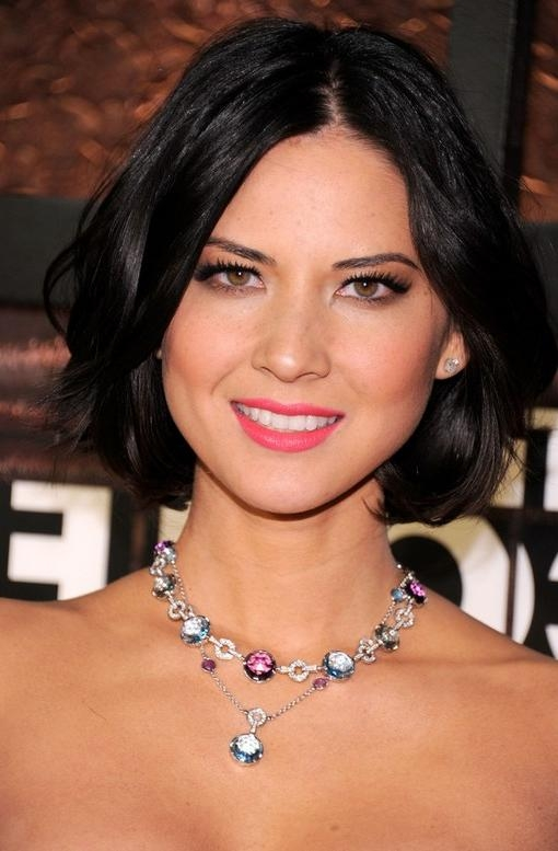 Olivia Munn Mid Length Hairstyle: Bob With Side Parts For Evening Throughout Most Current Olivia Munn Bob Hairstyles (View 4 of 15)