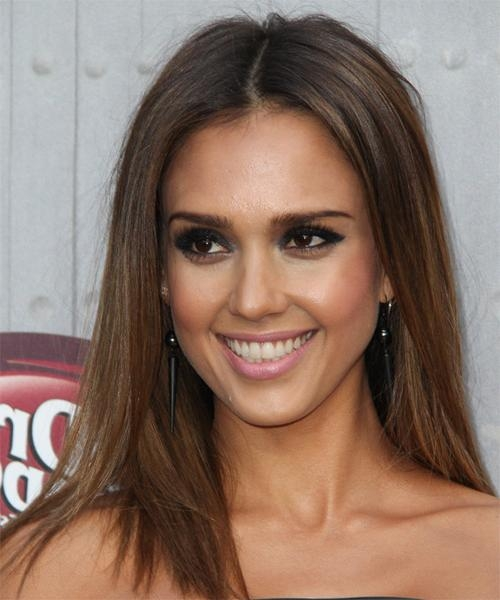 Recent Jessica Alba Long Hairstyles In Jessica Alba Long Straight Casual Hairstyle – Medium Brunette Hair (View 14 of 15)