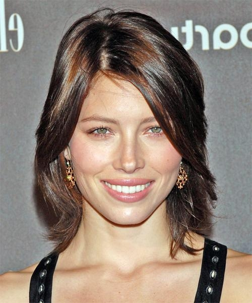 Recent Jessica Biel Shoulder Length Bob Hairstyles Regarding Jessica Biel Medium Straight Casual Hairstyle With Side Swept Bangs (View 15 of 15)