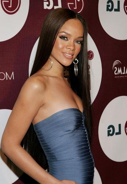 Recent Rihanna Long Hairstyles Inside 50 Great Rihanna Hairstyle Photos – Strayhair (View 15 of 15)