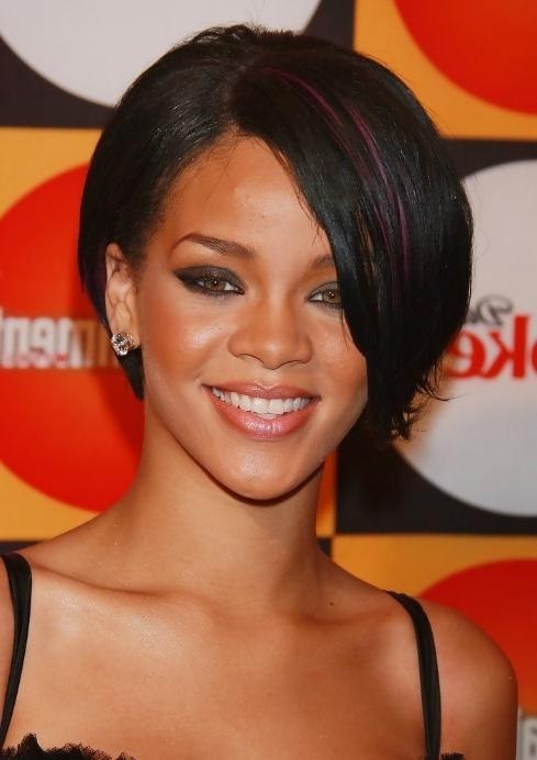 Rihanna Bob Hairstyles: Sexy Short Bob Cut With Side Bangs With 2017 Rihanna Shoulder Length Bob Hairstyles (View 8 of 15)