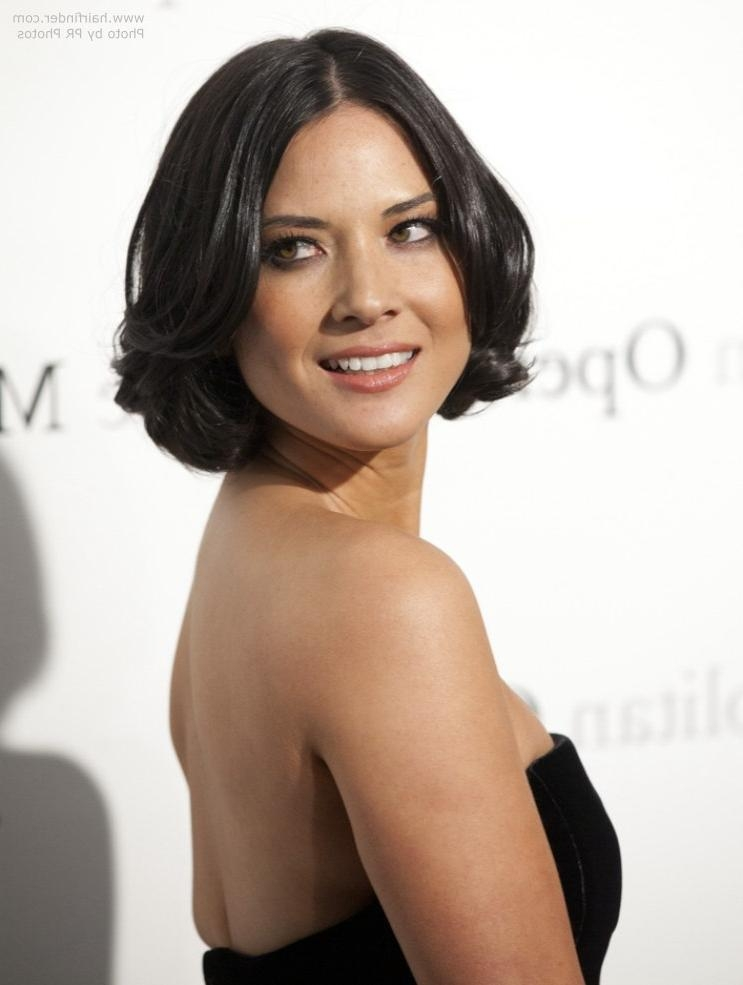 Short Bob Haircut With Curls And Waves Within Most Up To Date Olivia Munn Bob Hairstyles (View 13 of 15)