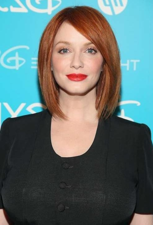 Short Red Haircut: Straight Bob Cut From Christina Hendricks In Well Known Christina Hendricks Bob Hairstyles (View 14 of 15)